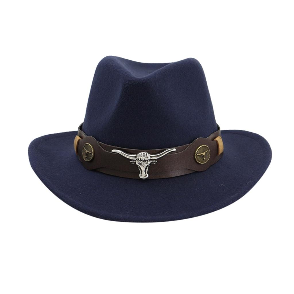 Faux Felt Wide Brim Western Cowboy Hat Vintage Outback Wool Cowgirl Cattlemen Hat