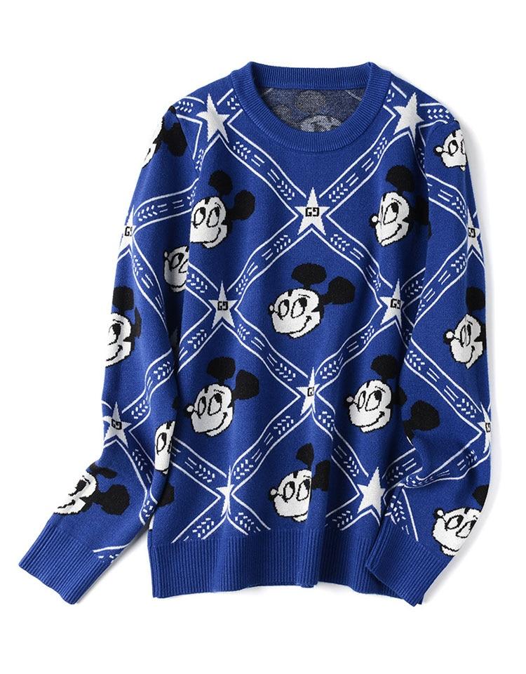 Korean Long Sleeved Woman Sweater Mickey Mouse Women Knitted Pullover Women Cartoon Sweater Round Neck Sweater Women