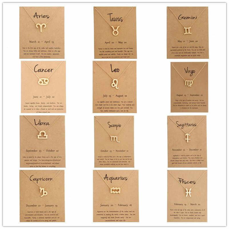 12 costellazione Collana Segno Zodiacale collana con la Carta Del Pendente Della Collana di fascino Messaggio di Carta Di Compleanno Regalo per le Donne Della Ragazza