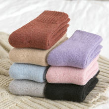 15% Wool Socks Winter Women Socks Warmer Thicken Thermal Cashmere Snow Boots Floor Sleeping Socks for Mens Solid Color Soft girl