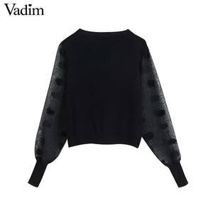 Image 2 - Vadim kadınlar şık patchwork örme kazak şeffaf eklenmiş uzun kollu kürk topu decoate kazak sıkı üstleri HA455