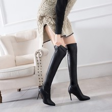 купить Over The Knee Leather Boots Thin High Heels Shoes for Women's 2019 Autumn Winter Thigh High Motorcycle Boots Fashion Sexy Ladies по цене 1515.32 рублей