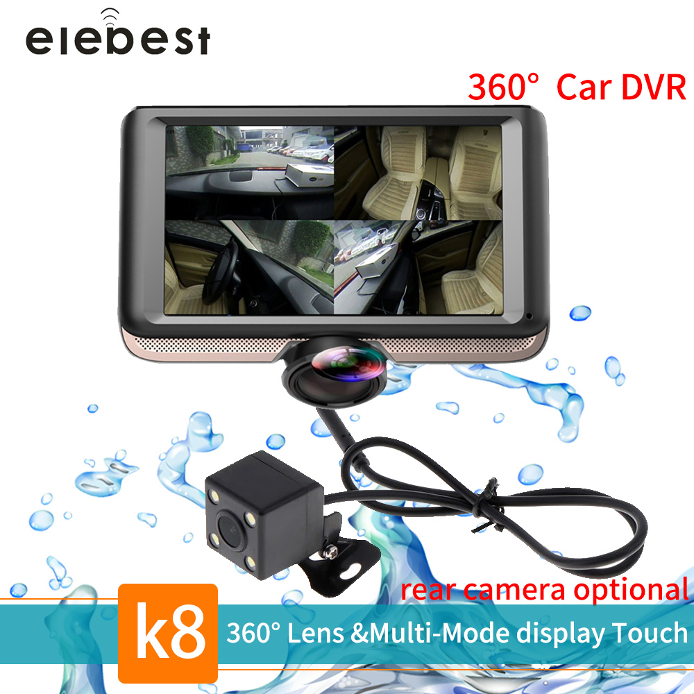 Elebest K8 5'' IPS Touch Screen 360 degree Full HD Car DVR Camera Dual Lens Dash Cam with Rear View Registrar Fisheye Lens Dvrs