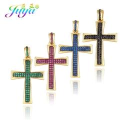 Juya DIY Luxury Rainbow Cubic Zirconia Christian Cross Charms For Needlework Prayer Rosary Pendant Jewelry Making Accessories