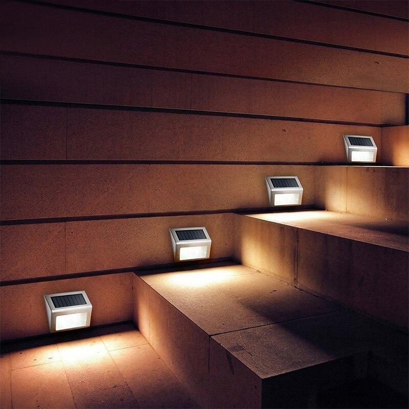 10 pecas luzes passo solar movido a energia solar levou luzes da escada ao ar livre