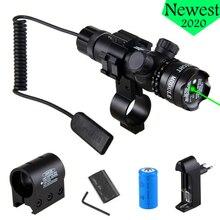 Güçlü taktik yeşil/kırmızı nokta lazer Sight ray namlu kapsam dağı uzaktan basınç anahtarı Picatinny tüfek avcılık
