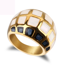 New color shell finger ring jewelry titanium steel gold color rings fashion jewelry casting ring for women free shipping недорого
