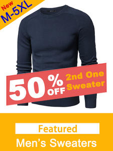 Muls Jersey Pullover Sweater Knitwear Jumper Polo Round-Neck Men Plus-Size Cotton Casual