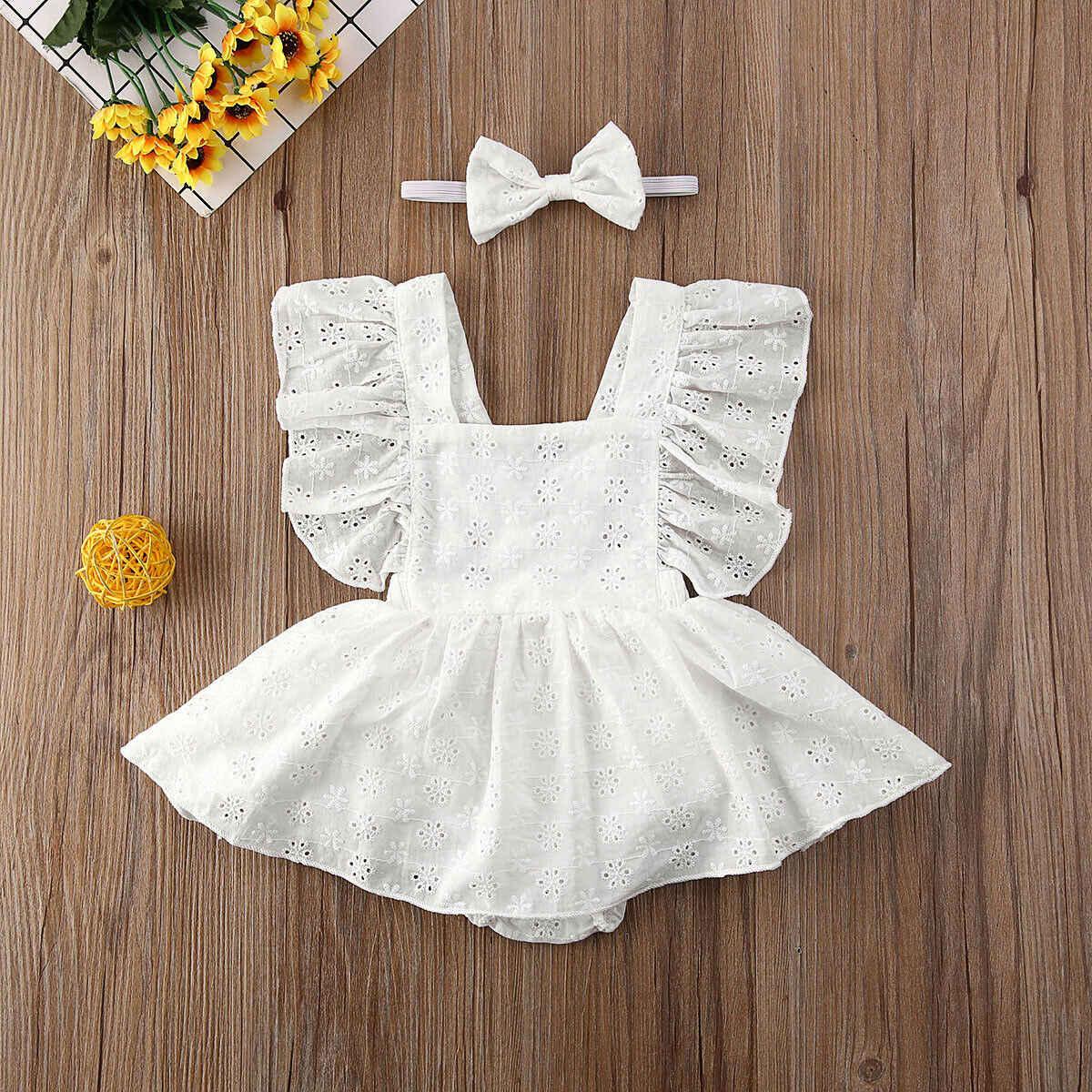 ทารกแรกเกิดทารกแรกเกิดหญิงเจ้าหญิงสั้นแขน Romper ชุดเสื้อผ้าชุด 2019 ฤดูร้อนสีขาวหญิง Mini Dress