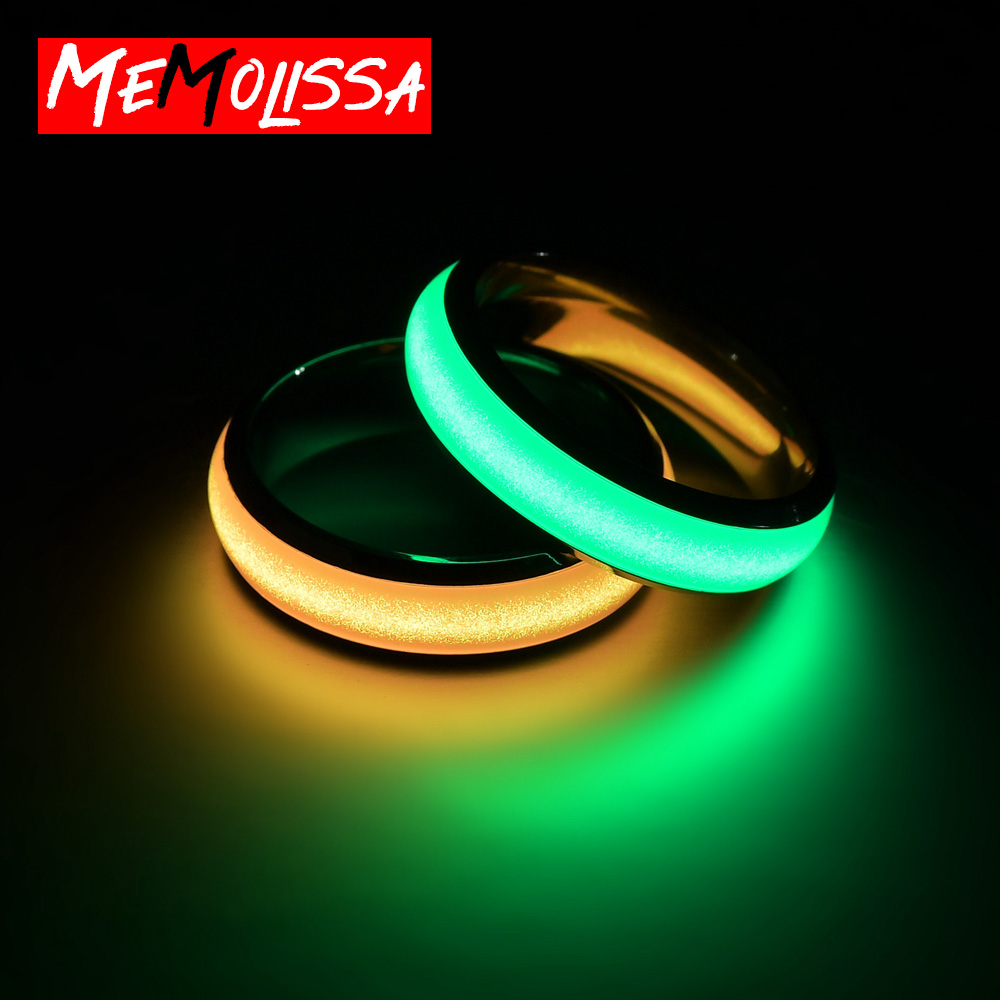 Novelty Stainless Steel Luminous Rings Stainless Steel Noctilucent Tabs Men Ring anillos mujer bague femme