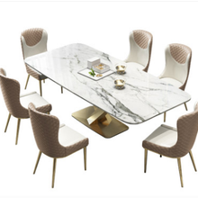 Light Dining-Table Stainless-Steel Italian Chair-Combination Marble Modern Luxury And