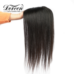 Doreen Topper pelo 130% de densidad Clip en cabello tupé para las mujeres de encaje PU peluquín de cabello humano cabello Remy 15*15 Color Natural