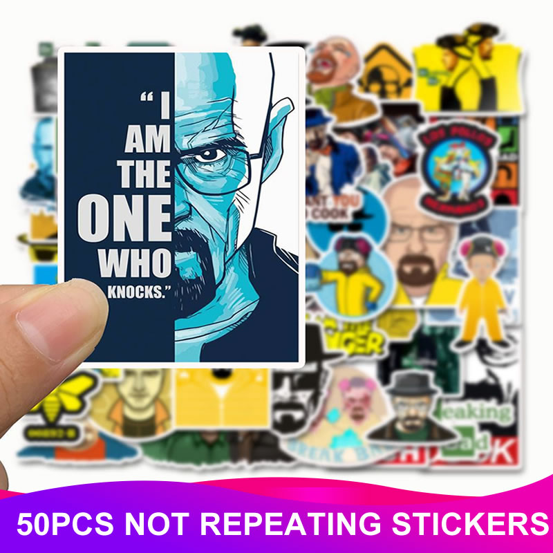 50pcs/Pack Breaking Bad Stickers Waterproof PVC Skateboard Suitcase Motorcycle Luggage Laptop Bicycle Stickers Kids Classic Toy