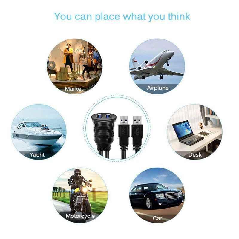 3FT 2 منافذ USB 3.0 ذكر إلى USB 3.0 أنثى AUX فلوش جبل سنادات بالسيارة مقاوم للماء تمديد كابل لسيارة شاحنة قارب دراجة نارية Da