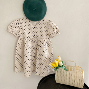 Lato w nowym stylu Tobbler Girls bufiaste rękawy jednorzędowy wzór kropki moda stare ubrania maluch sukienka 1- 6 lat