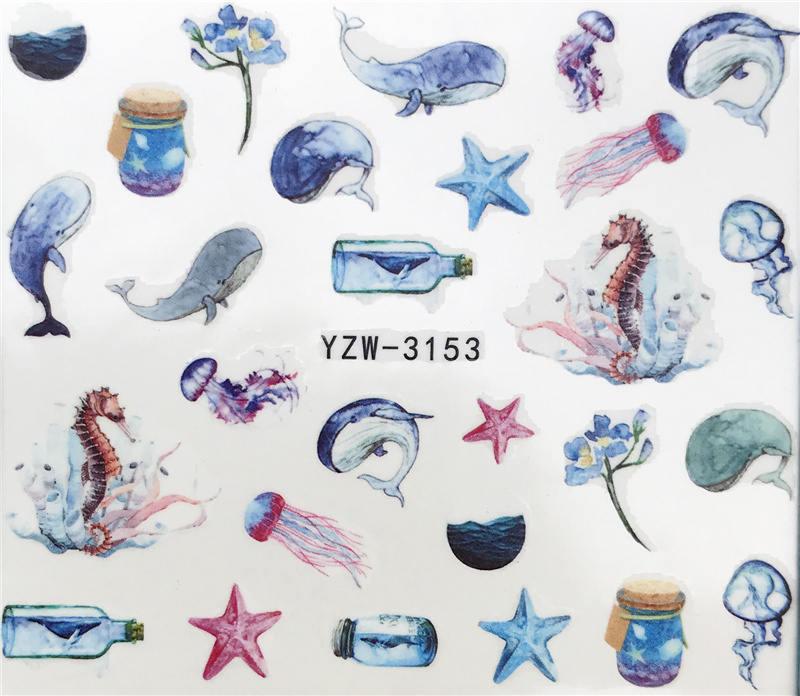 YZWLE 2020 New Arrivial Nail Stickers  Wishing Bottle / Dolphin / Starfish Plant Pattern 3D Manicure Sticker Nail Water Sticker