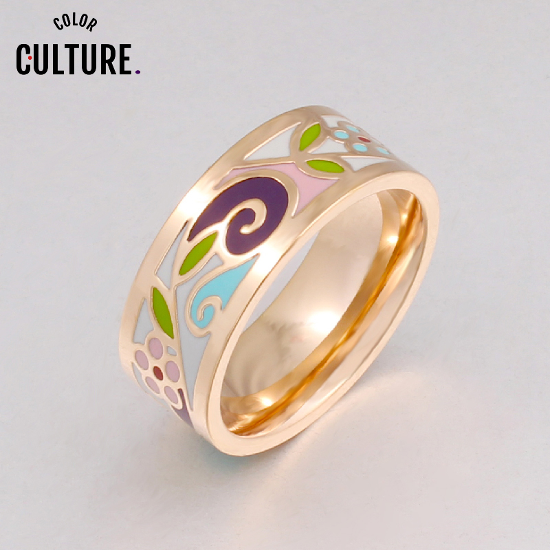 Brand Exclusive Beautiful Flowers Color Vintage Enamel Ring Vintage 0.8cm Width Gilded Stainless Steel Rings for Women