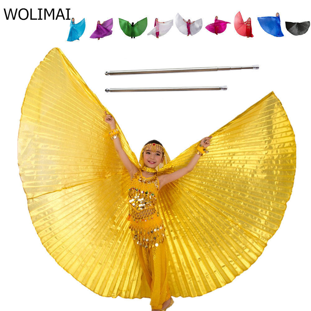 Belly Dance Wings Kids Bellydance Costumes Kids Bollywood Belly Dancing Angle Wings Gold Girls Children 11 Colors With Sticks