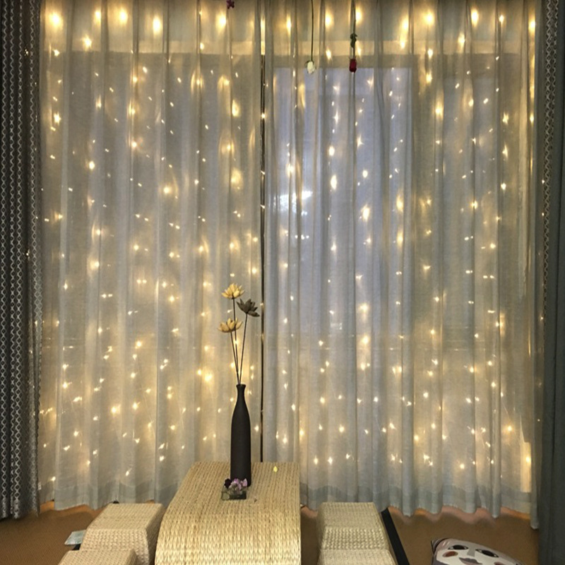 LED Curtains Lights String Bedroom Holiday Fairy Lights Decoration Garland On The Window For Christmas New Year Weddings Party