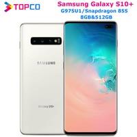 Samsung-teléfono inteligente Galaxy S10 Plus G975U, 512GB, G975U1, desbloqueado, Snapdragon 855, ocho núcleos, 6,4 pulgadas, 16MP, Dual, 12MP, 8GB y 512GB, NFC