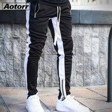 Homens lado listra moda bolso calças casuais streetwear jogger pant hip hop zíper inferior masculino calças de lápis ao ar livre esporte