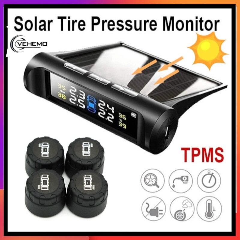 Vehemo universal usb sem fio tpye real-time lcd carro tpms segurança sensor externo sistema de monitoramento de pressão dos pneus monitor de alarme