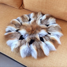 Natural Real Red Fox Fur Cushions Patchwork Sofa Floor Round Cushion