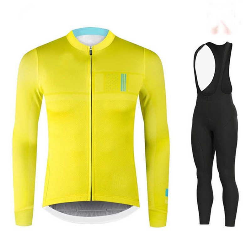 Go bike jesień z długim rękawem kolarstwo zestaw koszulek spodnie na szelkach odzież rowerowa rower MTB odzież rowerowa Jersey jednolita odzież męska