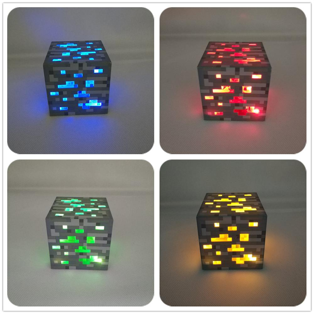 Red/Blue/Gold/Green Stone Night Lamp Ore Diamond Square Night Light Battery Powered Touch Control 3 Steps Brightness