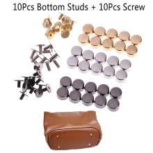 10sets Wear Protection Bag Bottom Studs Rivets DIY Leather Buttons Screw For Bags Hardware Belt Accessories For Bag Feet Screw