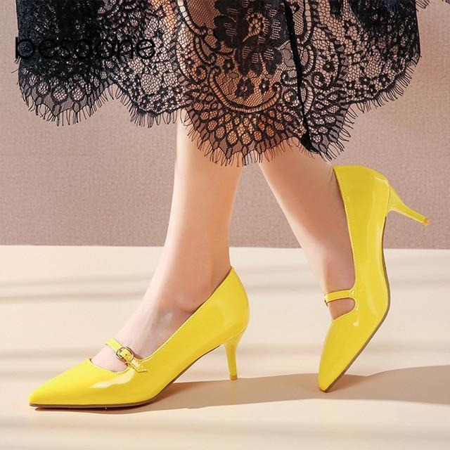 BESCONE moda kadın pompaları el yapımı sığ toka ince topuk ayakkabı yeni temel seksi sivri burun elbise yüksek topuk bayan pompaları BM78