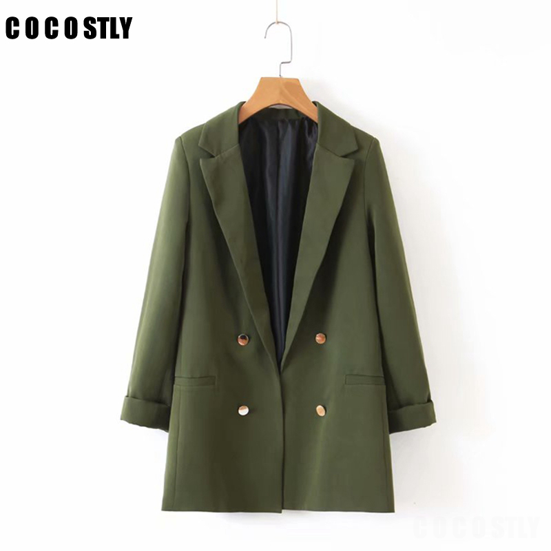 Classic Solid Double Breasted Blazer Women Jackets Notched Collar Female Suits Coat Fashion Casual 2020 Autumn Street Wear Top