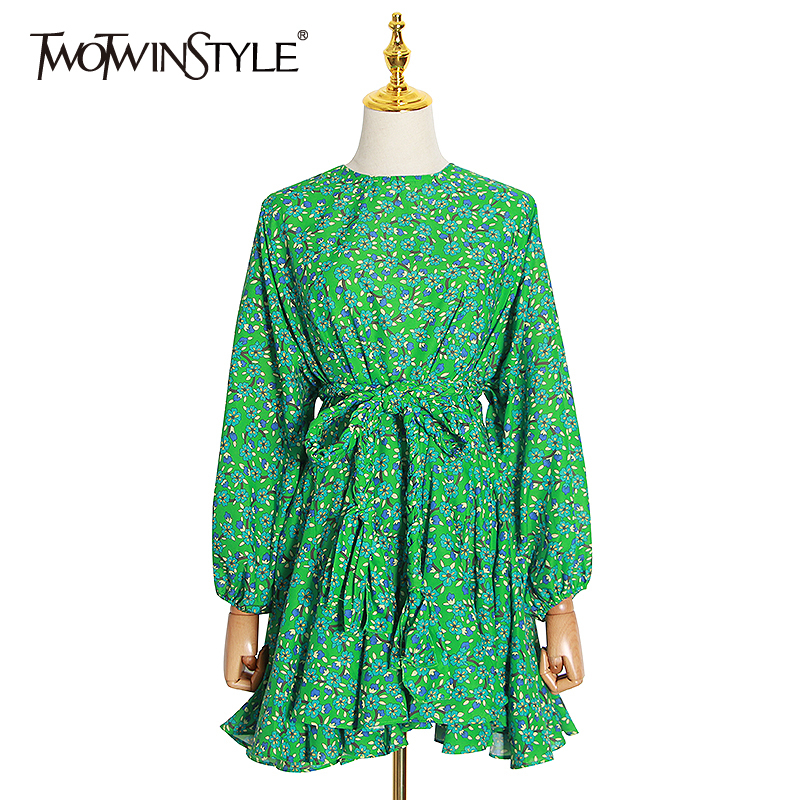 TWOTWINSTYLE Elegant Print Women Dress O Neck Lantern Long Sleeve High Waist Lace Up Bow Ruffles Mini Dresses For Female Fashion