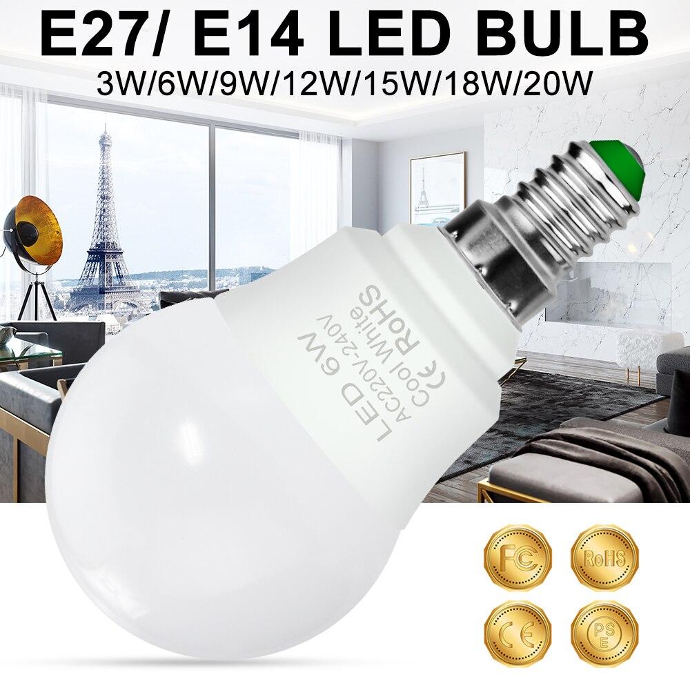 LED Lamp E14 Light Bulb 3W 6W 9W 12W 18W 20W LED Bulb 220V Foco LED E27 15W Lampara 240V Spot Light 2835 Ampoule Home Lighting