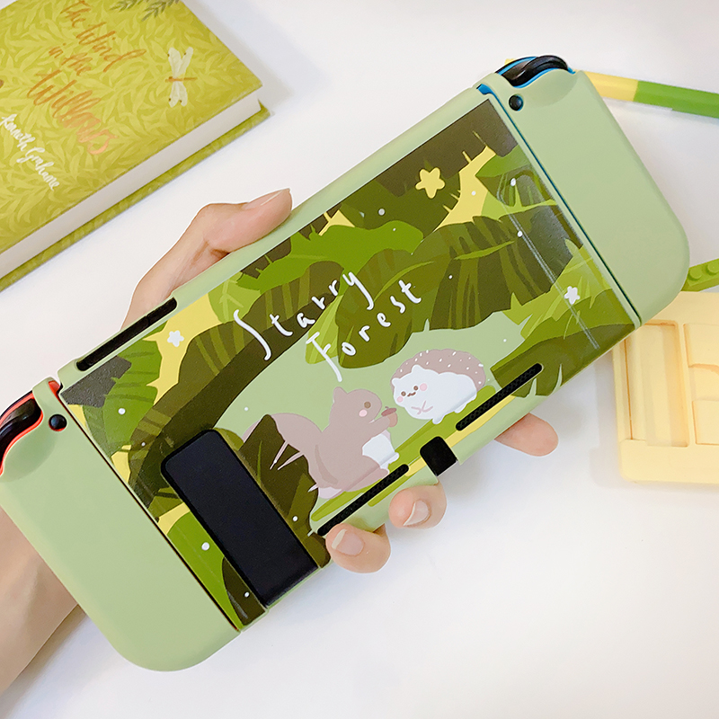 STARRY FOREST Forest Animals Hedgehog Squirrel cute green soft protective case shell for nintendo switch