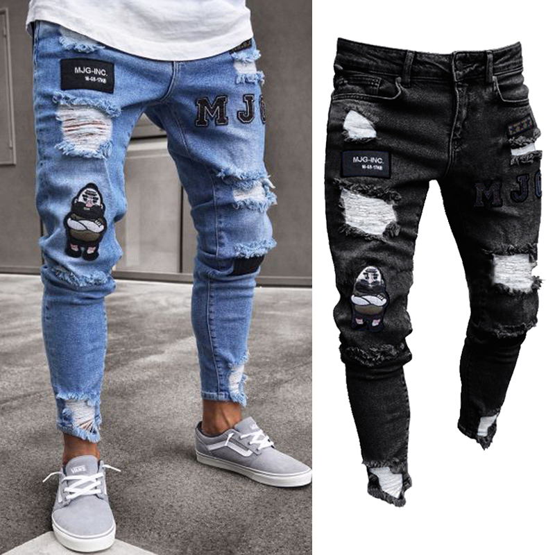 Fashion Men Stretchy Ripped Skinny Biker Hip Hop Jeans Destroyed Taped Patch Slim Pencil Denim Long Pants
