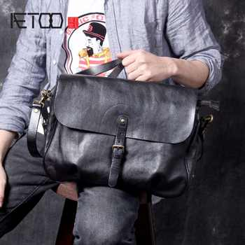 AETOO New Retro Classic men's Postman bag, head-layer cowhide original handmade casual shoulder crossbody bag - DISCOUNT ITEM  50% OFF All Category