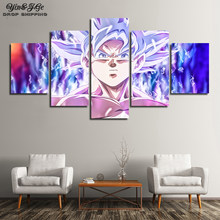 Canvas Prints Painting Living Room Wall Art 5 Pieces Dragon Ball Super Anime Pictures Modular Abstract Poster Home Decor Framed(China)