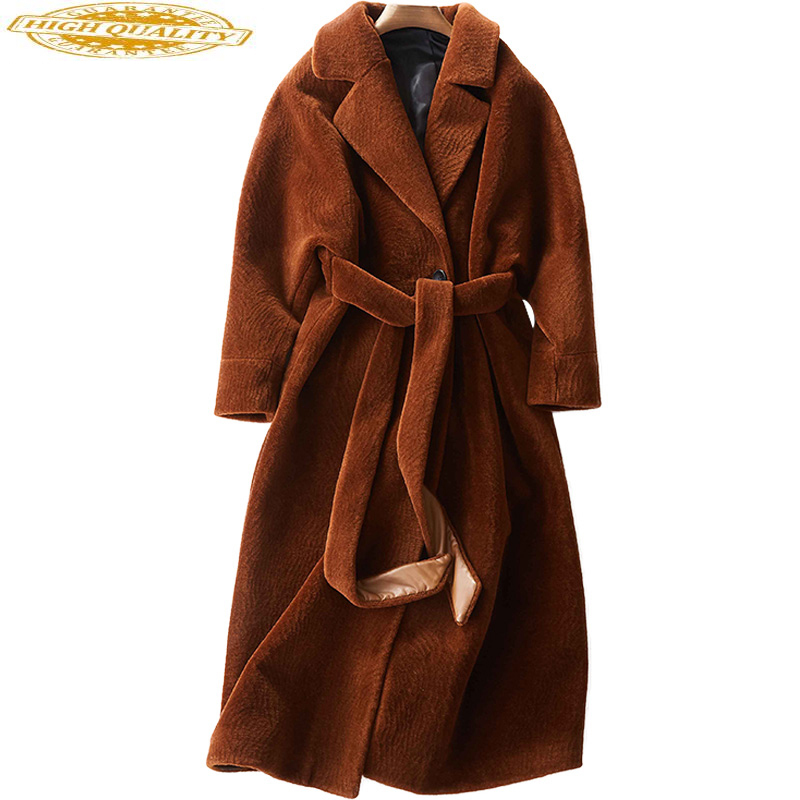 Sheep Shearing Overcoat Women Real Fur Coat Female Jacket Long Winter Warm Lamb Fur Coats Casaco Feminino WYQ780