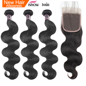 Ishow Indian Body Wave 3 Bundles With Closure 100% Human Hair Bundles Lace Closure With Baby Hair Non Remy Hair Weave