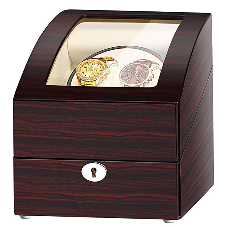 JQUEEN Ebony Baking Finish Automatic Double Watch Winder with 3 Storage Box Case White PU Leather Interior With Key|Watch Winders| |  - title=