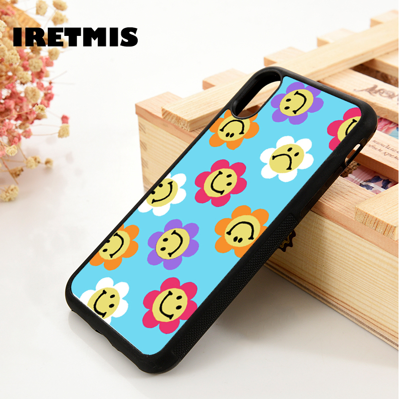 Iretmis 5 5S SE 6 6S Soft TPU Silicone Rubber Phone Case Cover For IPhone 7 8 Plus X Xs 11 Pro Max XR Happy Flowers Blue