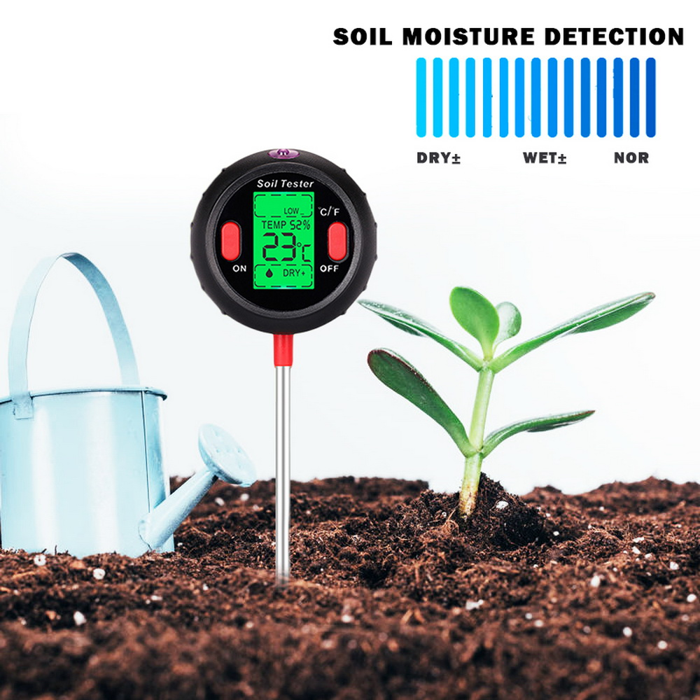 For Gardening 5 in 1 Soil Ph Meter Digital Tester PH Moisture Meter Temperature Sunlight Intensity Measurement Analysis Acidity