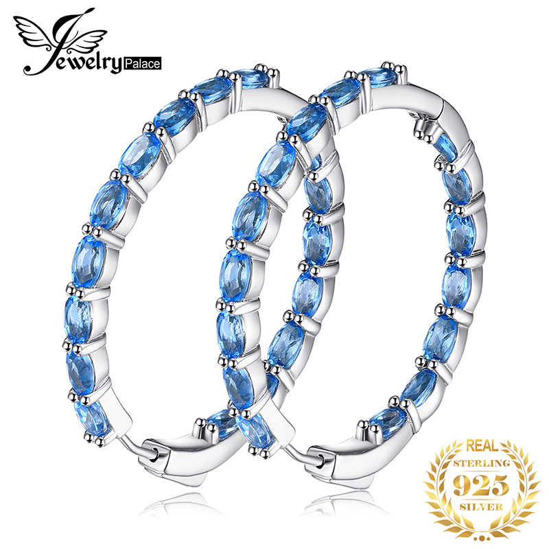 Huge 13ct Genuine Swisss Blue Topaz Hoop Earrings 925 Sterling Silver Earrings For Women Gemstones Earings Fashion Jewelry 2020