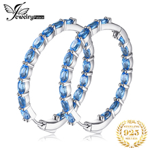 JewelryPalace Huge 13.5ct Natural Sky Blue Topaz Hoop Earrings Genuine 925 Sterling Silver 216 New Fine Jewelry For Women цена