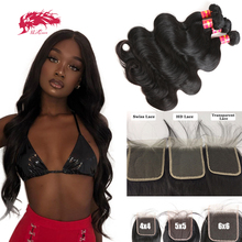 Ali Queen Human Virgin Hair Bundles with Closure HD Transparent Lace Closure with Bundles Brazilian Body Wave One Donor Hair
