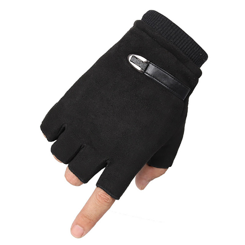 Men Gloves Fingerless Winter Fleece Half Finger Guantes Unisex Suede Leather Bike Mittens Winter Warm Gloves Black Elastic Cuff