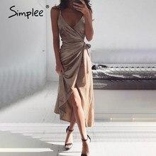 Simplee wrap velvet sexy long women dress solid backless club winter dress spaghetti strap slit bow feminino party dress vestido