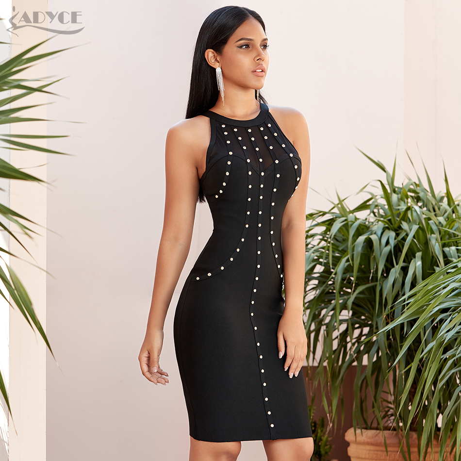 Adyce 2020 New Summer Lace Bodycon Bandage Dress Sexy Hollow Out Sleeveless Beading Club Celebrity Evening Party Dress Vestidos