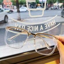 Yeni büyük boy kare şeffaf olmayan reçete Lens gözlük büyük boy kadın erkek optik gözlük gözlük şeffaf alaşım